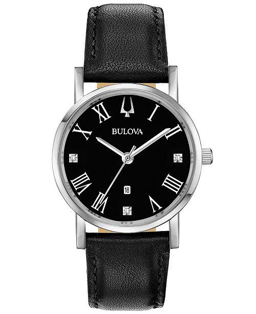 ... Bulova Women s American Clipper Diamond-Accent Black Leather Strap Watch  ... 79682a49c7
