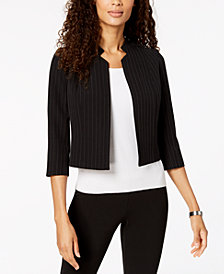 Kasper Petite Cropped Pinstriped Jacket
