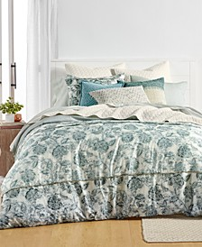 CLOSEOUT Floral Batik Cotton Reversible 3-Pc. King Duvet Cover Set, Created for Macy's