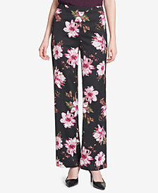 Calvin Klein Floral-Print Wide-Leg Soft Pants