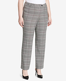 Calvin Klein Plus Size Glen Plaid Modern Ankle Pants