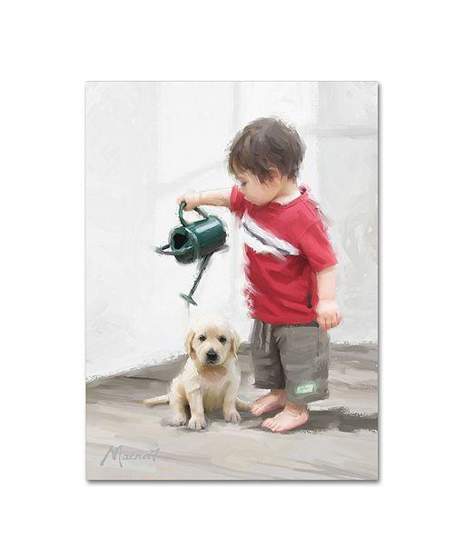 "Trademark Global The Macneil Studio 'Boy and Puppy' Canvas Art - 14"" x 19"""