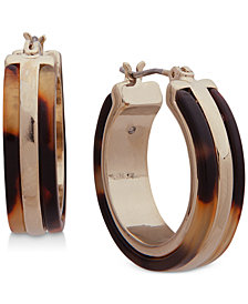 Lauren Ralph Lauren Gold-Tone & Tortoise-Look Hoop Earrings