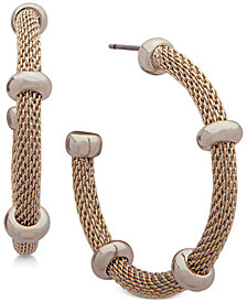 Lauren Ralph Lauren Beaded Mesh Open Hoop Earrings