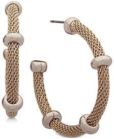 Lauren Ralph Lauren Beaded Mesh Open Hoop Earrings