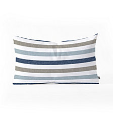 Deny Designs Little Arrow Design Co multi blue  stripes Oblong Throw Pillow