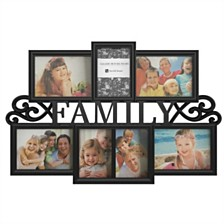 "Family Collage Picture Frame with 7 Openings by Lavish Home, Black, 16"" x 23.5"" x 1"""