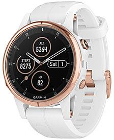 Garmin Unisex fenix® 5S Plus White Silicone Strap Smart Watch 42mm