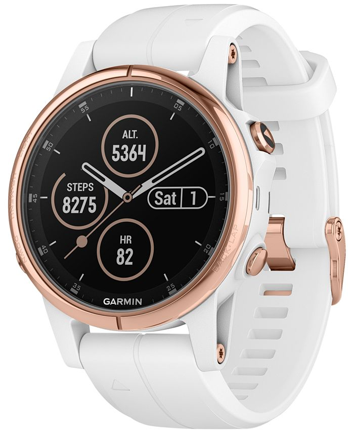 Garmin - Unisex fenix® 5S Plus White Silicone Strap Smart Watch 42mm
