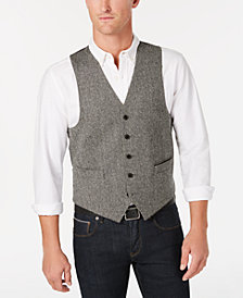 Lauren Ralph Lauren Men's Classic/Regular Fit Black/White Herringbone Wool Vest