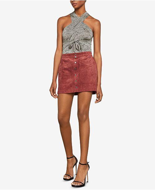 131f5cfee5 BCBGMAXAZRIA Mora Faux-Suede Mini Skirt & Reviews ...