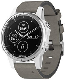 Garmin Unisex fenix® 5S Plus Gray Suede Strap Smart Watch 42mm