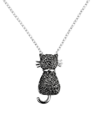 Victoria Townsend Sterling Silver Necklace, Black Diamond Accent Cat Pendant