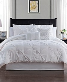 Pom Pom 7 Piece King Size Comforter Set