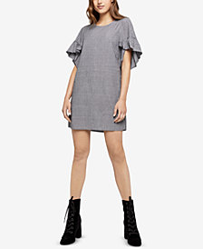 BCBGeneration Pinstripe Ruffle-Sleeve Dress