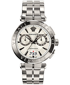 Versace Men's Swiss Chronograph Aion Stainless Steel Bracelet Watch 45mm