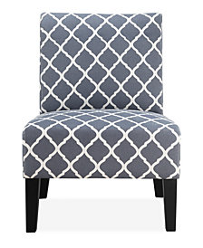 Brice Accent Chair, Blue Lattice