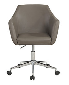 Upholstered Faux Leather Office Chair, Warm Grey