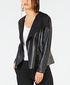 Alfani Faux-Leather Draped Side-Panel Jacket, Created for Macy's