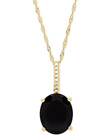 "Onyx (10 x 8mm) & Diamond Accent 18"" Pendant Necklace in 14k Gold"