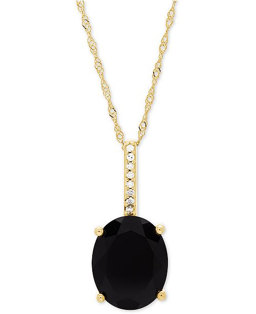 "Honora Style Onyx (10 x 8mm) & Diamond Accent 18"" Pendant Necklace in 14k Gold"
