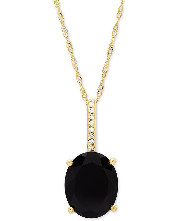 """Honora Style Onyx (10 x 8mm) & Diamond Accent 18"""" Pendant Necklace in 14k Gold"""