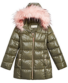 MICHAEL Michael Kors Big Girls Hooded Puffer Jacket with Faux-Fur Trim