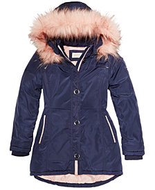 MICHAEL Michael Kors Big Girls Hooded Jacket with Faux-Fur Trim