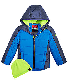 RM 1958 Toddler Boys Branson Colorblocked Puffer Jacket with Hat
