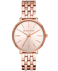 Michael Kors Women's Pyper Rose Gold-Tone Stainless Steel Bracelet Watch 38mm