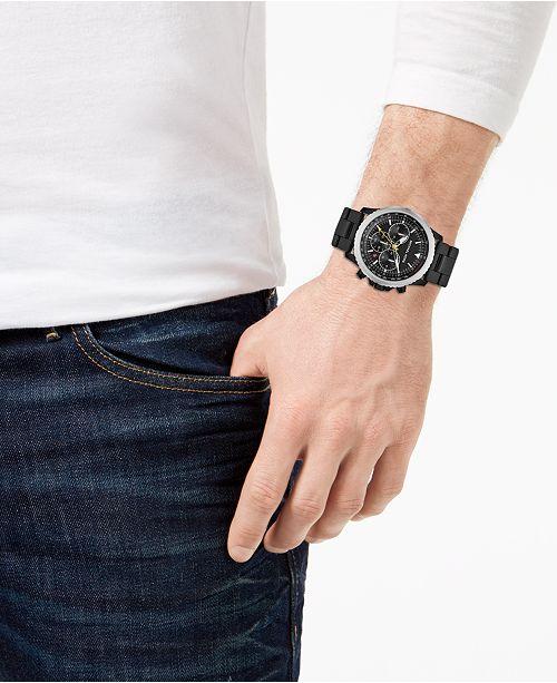 1705ca61f393 ... Michael Kors Men s Chronograph Theroux Black Stainless Steel Bracelet  Watch ...