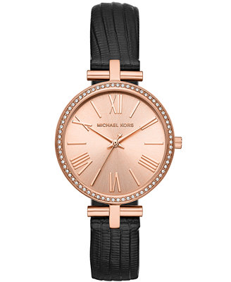 Women's Maci Black Leather Strap Watch 34mm, Created For Macy's by Michael Kors