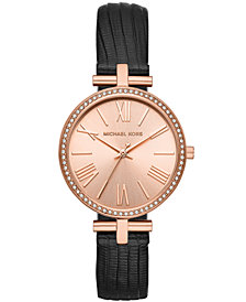 Michael Kors Women's Maci Black Leather Strap Watch 34mm, Created for Macy's