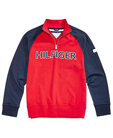 Tommy Hilfiger Little Boys Raglan Quarter-Zip Cotton Pullover