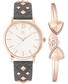 I.N.C. Women's Gray Faux Leather Strap Watch 38mm Gift Set, Created for Macy's