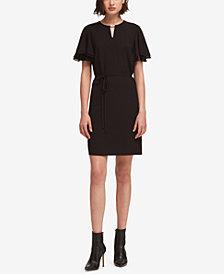 DKNY Flounce-Sleeve Keyhole Dress, Created for Macy's