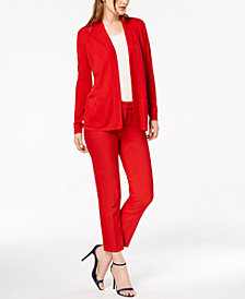 Anne Klein Open-Front Cardigan & Straight-Leg Pants