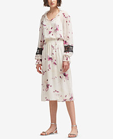 DKNY Printed Lace-Trim Dress, Created for Macy's