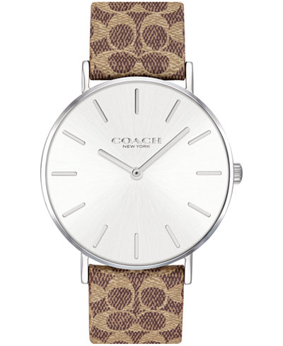 COACH Women's Perry Created for Macy's Brown Leather Strap Watch 36mm