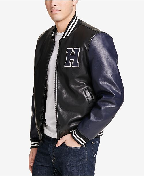 4338aa65 ... Tommy Hilfiger Men's Faux-Leather Varsity Jacket, Created for Macy's ...