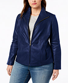 Cole Haan Signature Plus Size Leather Jacket