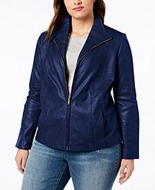 Cole Haan Signature Plus Size Leather Jacket