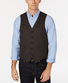 Lauren Ralph Lauren Men's Classic/Regular Fit Light Brown/Blue Grid Wool Vest