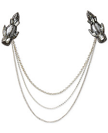 Deepa Gunmetal-Tone Crystal Chain Draped Hair Clip