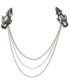Deepa Gunmetal-Tone Crystal Chain Draped Hair Clip
