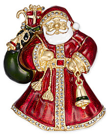 Charter Club Gold-Tone Crystal & Epoxy Santa Claus Pin, Created for Macy's