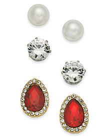 Charter Club Two-Tone 3-Pc. Set Imitation Pearl, Crystal and Stone Stud Earrings, Created for Macy's