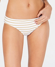 Metallic-Stripe Hipster Bikini Bottoms