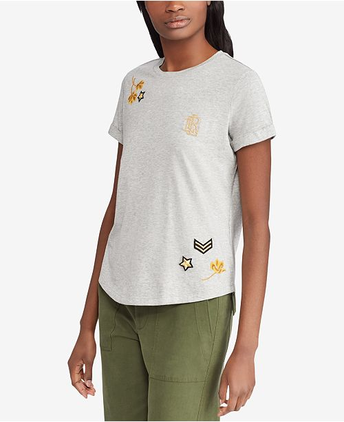 4ae4c4f6afc1 Lauren Ralph Lauren Embellished T-Shirt   Reviews - Tops - Women ...