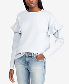Lauren Ralph Lauren Ruffled-Sleeve Cotton Top